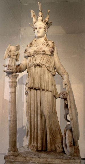 Το αντίγραφο του χρυσελεφάντινου αγάλματος ανακαλύφτηκε το 1880 στο Βαρβάκειο Λύκειο γι'αυτό ονομάζεται Αθηνά του Βαρβακείου. Έχει ύψος 1,05 και χρονολογείται τον 2ο αιώνα π.Χ....